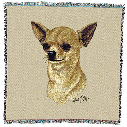 Pure Country Weavers - Chihuahua 2 Woven Throw Blanket with Fringe Cotton. USA Size 54x54