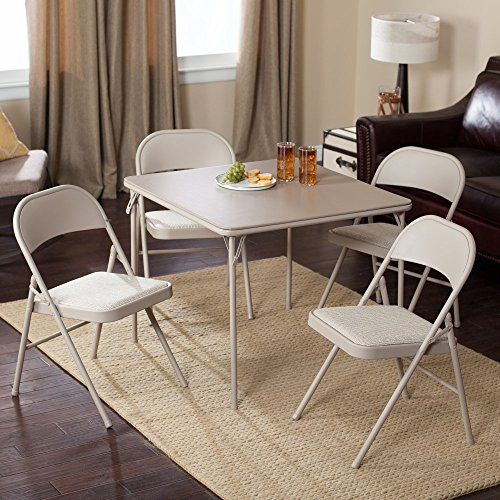 Meco Sudden Comfort Deluxe Single Padded Seat and Back-5 Piece Card Table Set – Lace
