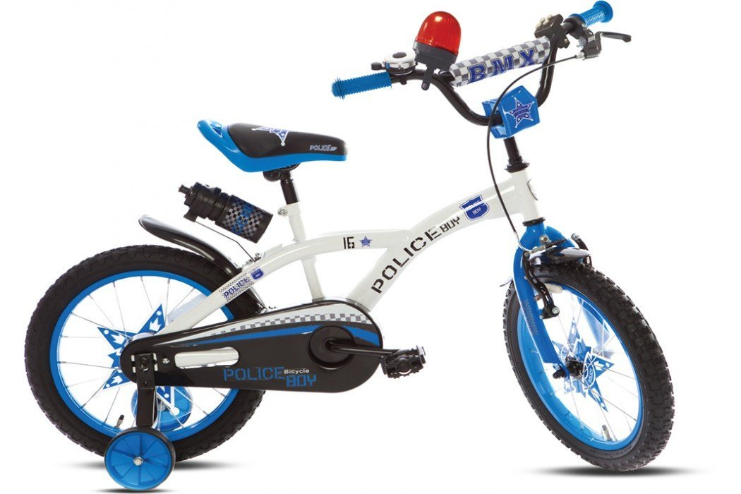 'Bike 16 inches Police Boy Blue with Siren Voozer (Vogue) EC-101696