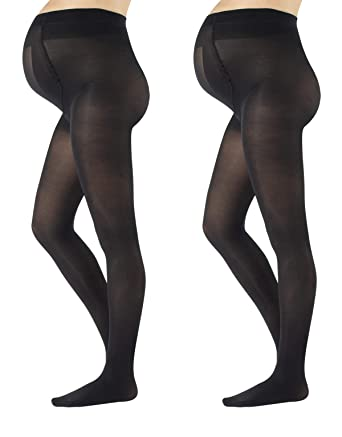 eab295f3140e1 2 PAIRS MATERNITY TIGHTS | PREGNANCY OPAQUE PANTYHOSE | 40 DEN | S M L XL |  BLACK | MADE IN ITALY