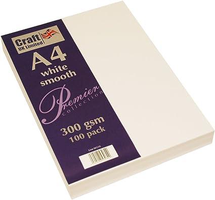 20 x A4 SMOOTH PREMIUM THICK BRIGHT WHITE CRAFT CARDMAKING PRINTER CARD 300gsm