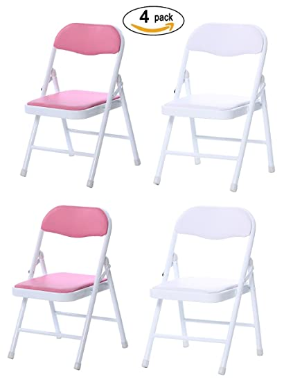 Langxun 4 Pack Folding Chair For Kids, 2 Colors Pink And White