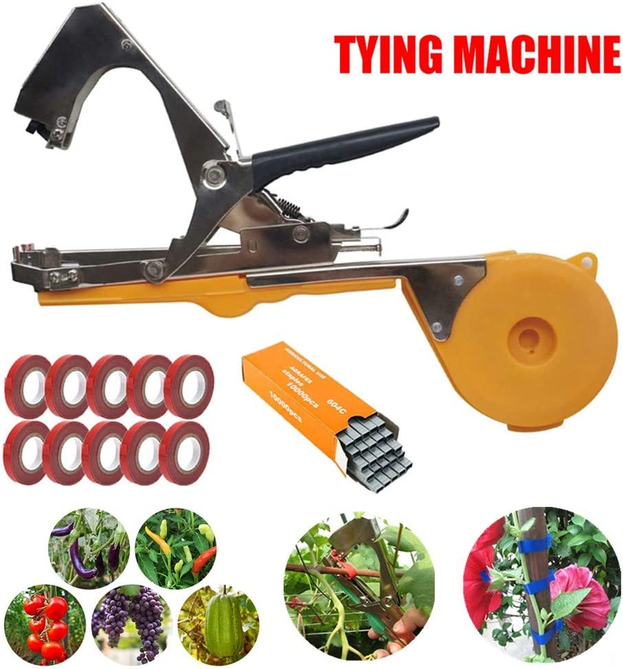 Plant Tying Machine - Garden Plant Tool for Vineyard,Vine Tying Tape Plant Agriculture Tapetool Tapener with 10 Rolls Tape and a Box of Staples Set