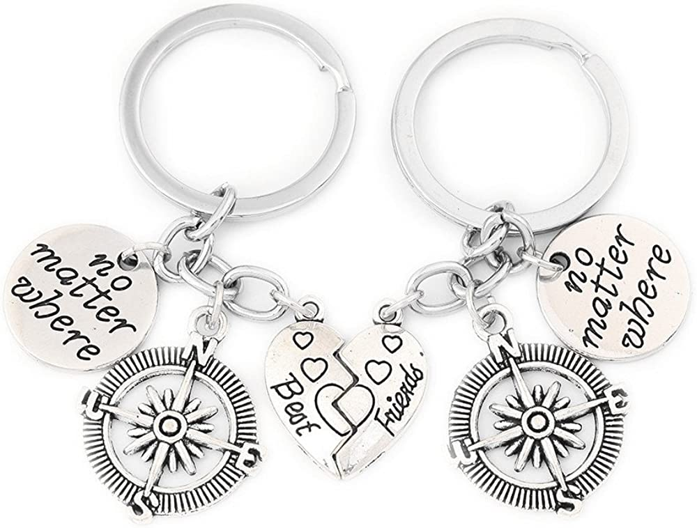 Best Friends No Matter Where Compass Necklace Set and Keychain Heart Best Friend Jewelry