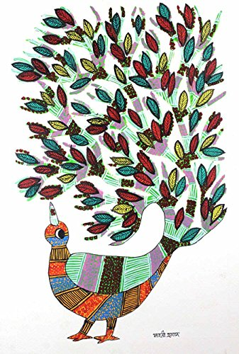 IMI Exclusive Abstract Peacock Gond Wall Hanging by Tribal Artist from MP(Size-10 Inch x 14 Inch x 0.7 Inch), Set of-1 (Curtens Shower)