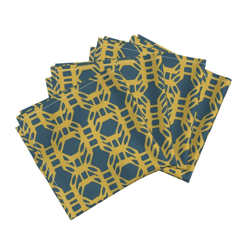 Roostery Gold Solar Fluid Waving Float Energetic Fluttering Linen Cotton Dinner Napkins Liquid_Grid_Gold by Chicca Besso Set of 4 Dinner Napkins