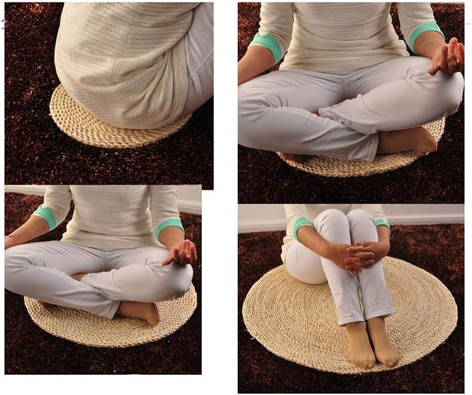 D/&LE Giapponese Paglia Futon Cuscini di Seduta Tessuti A Mano Tondo Traspirabilit/à Tatami Cuscini per Sedia Eco-Friendly Bovindo Tappetino per Zen Pratica Yoga Meditazione-Il Riso Bianco 30x1cm