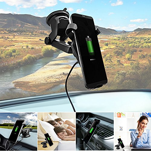 Fast Wireless Charger,MEIWU Car Mount Air Vent Phone Holder Cradle for Samsung Galaxy Note 7/6/S8/S8 plus/S7/S6 Edge plus,QI Wireless Standard Charge for iPhone 8/8 plus/X etc. by MEIWU (Image #8)