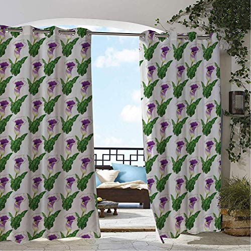 Linhomedecor Outdoor Waterproof Curtain Calla Lily Artistic Illustration of Plants Stylized Petals and Leaves Violet Green and White Porch Grommet Printed Curtain 108 by 84 inch - Nouveau Lily Window Windows