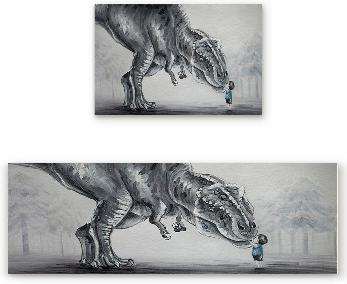 2 Pcs Kitchen Mats Runner Rug Set Anti Fatigue Standing Mat Rubber Backing Human and Nature Themed Fairy Tale Dinosaur with a Lovely Boy Print Washable Floor Mat Area Rug for Home Office