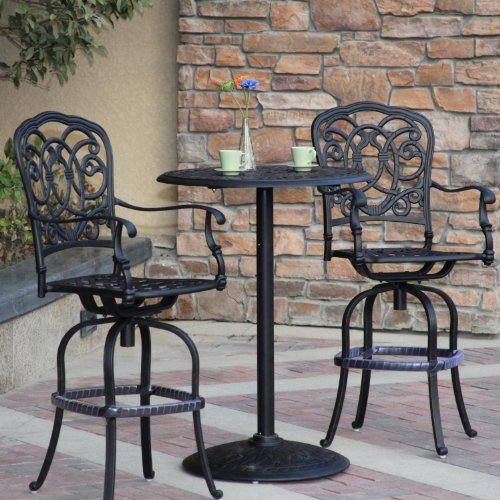 - Darlee Florence 3 Piece Cast Aluminum Patio Bar Set With Swivel Bar Stools - Antique Bronze