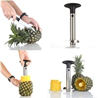 Stainless Steel Pineapple Corer Slicer Peeler [Upgraded, Reinforced, Thicker Blade] for Diced Fruit Rings All in One Pineapple Tool Peeler by Super Z Outlet
