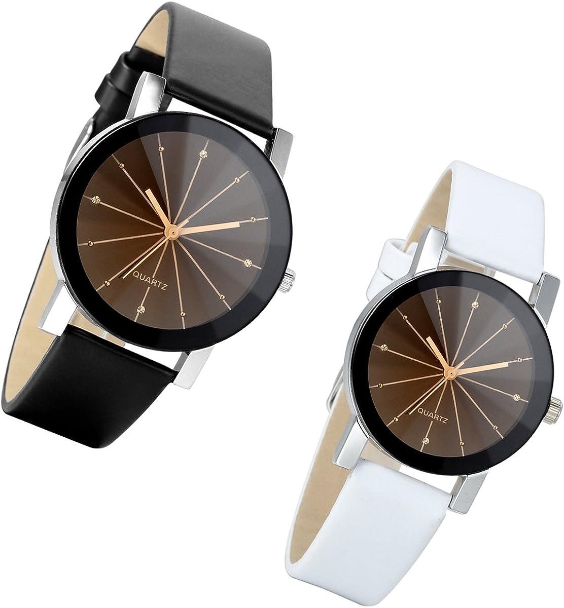 Lancardo - Reloj de pulsera de cuarzo para parejas, correa de piel artificial, esfera de cristal impermeable para negocios, casual, negro y blanco (1 par)