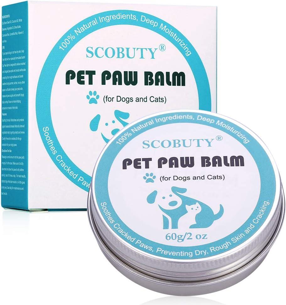 SCOBUTY Bálsamo Mascotas, Bálsamo Perros, Dog Paw Nose Balm, Bálsamo para la Nariz y para Las Patas agrietadas y Que pican de Perros, Protege y Repara Piel Seca y Agrietada, 60g