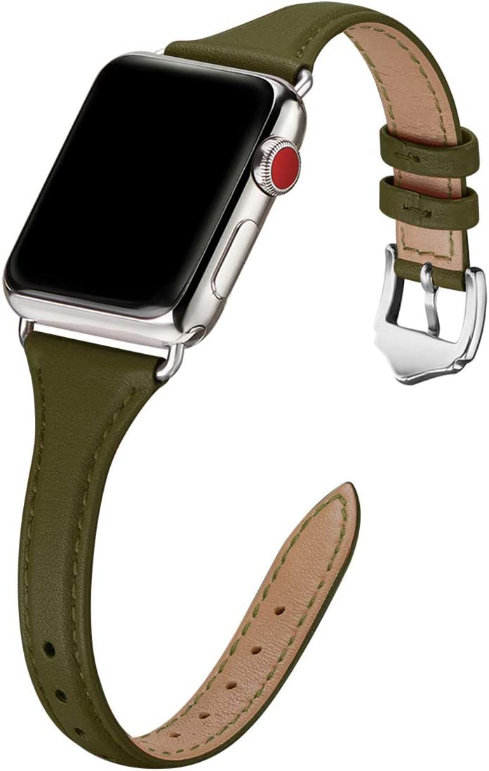 WFEAGL Genuine Leather Watch Bands Compatible with iWatch 38mm 40mm , Slim & Soft Replacement Wristband for Apple Watch Series 5/4/3/2/1 (Olive Green Band+Silver Adapter, 38mm 40mm)