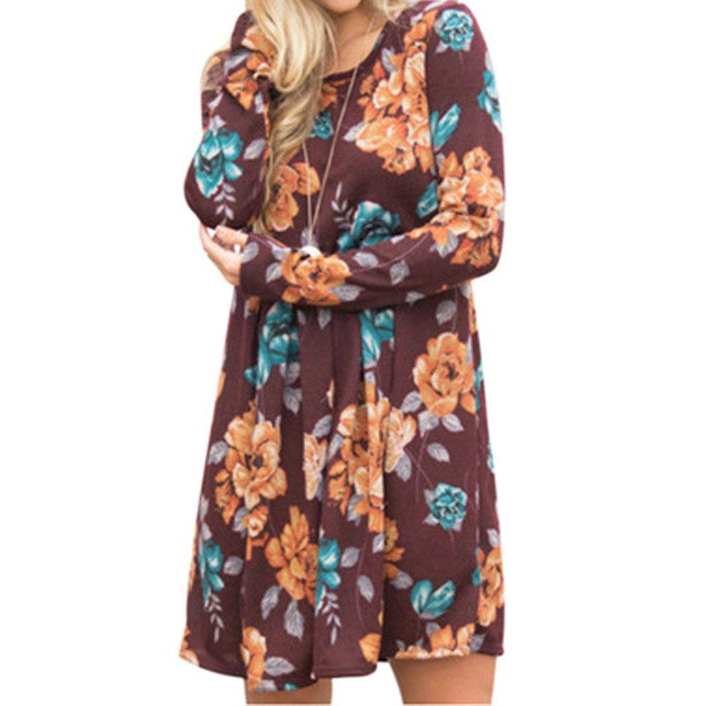 HIRIRI Women Pleated Short Skirt Long Sleeve V-Neck Printed Loose Dress Ladies Knee Length Dresses