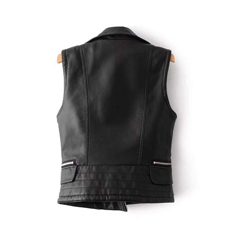 Noir Gilet Femmes Biker Punk Gilet Femme Fermeture Éclair Poches Faux en Cuir Slim Fit Moto Automne Veste sans Manches White Vest