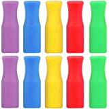 """Food Grade Silicone Tips for Stainless Steel Straws, Multi-Colors Soft Stainless Steel Straws Nozzles 10 pcs, Fit for 1/4"""" Wide Stainless Straws Reusable Metal Straws and Plastic Replacement Straws"""