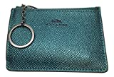 Coach Metallic Crossgrain Leather Mini Skinny ID Wallet Key Pouch Logo Dark Teal
