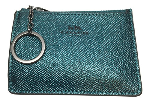 Coach Metallic Crossgrain Leather Mini Skinny ID Wallet Key Pouch Logo Dark ()