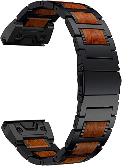 LDFAS Fenix 6 Pro/5 Plus Band, Natural Wood Red Sandalwood Black Stainless Steel Metal Watch Band, 22mm Quick Release Easy Fit Strap Compatible for ...