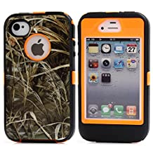 MOONCASE iPhone 4S Case, [Realtree Camo Series] 3 Layers Heavy Duty Defender Hybrid Soft TPU +PC Bumper Triple Shockproof Drop Resistance Protective Case Cover for Apple iPhone 4 4SS -Orange Grass