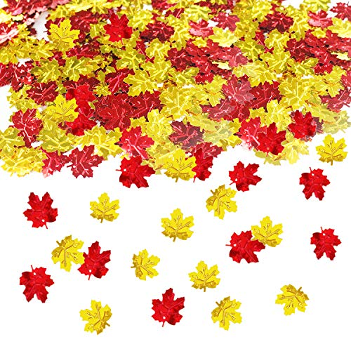 (Thanksgiving Confetti | Maple Leaves Confetti | Thanksgiving Table Decorations | Gold Red Color)