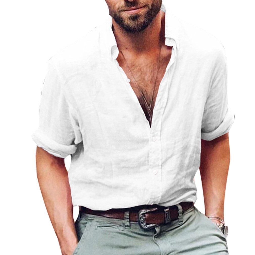 Camisa para Hombre - Lino Blusa Casual de Manga Larga Top Cuello Alto de Color Sólido Blusas Suelta Camisas de Trabajo Suave Cómodo Transpirable M-4XL: ...