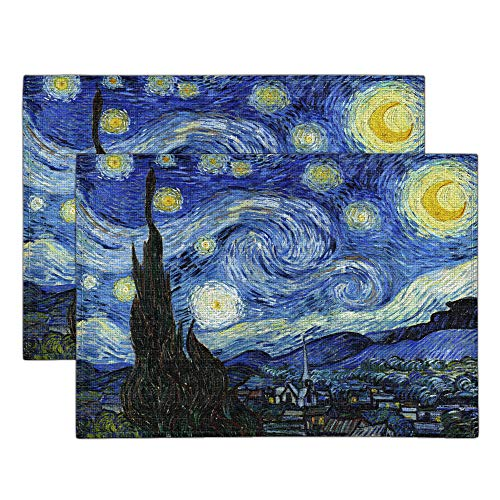 WIRESTER Placemats 17.7 x 12.6 inch, Set of 2 Cotton Linen Polyester Table Mats for Kitchen Dining Table Decoration - The Starry Night Van Gogh