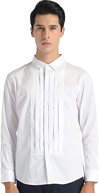 SSLR Camisa Vestir Hombre Dress Shirt for Men Manga Larga Entallada (X-Large, Blanco): Amazon.es: Ropa y accesorios