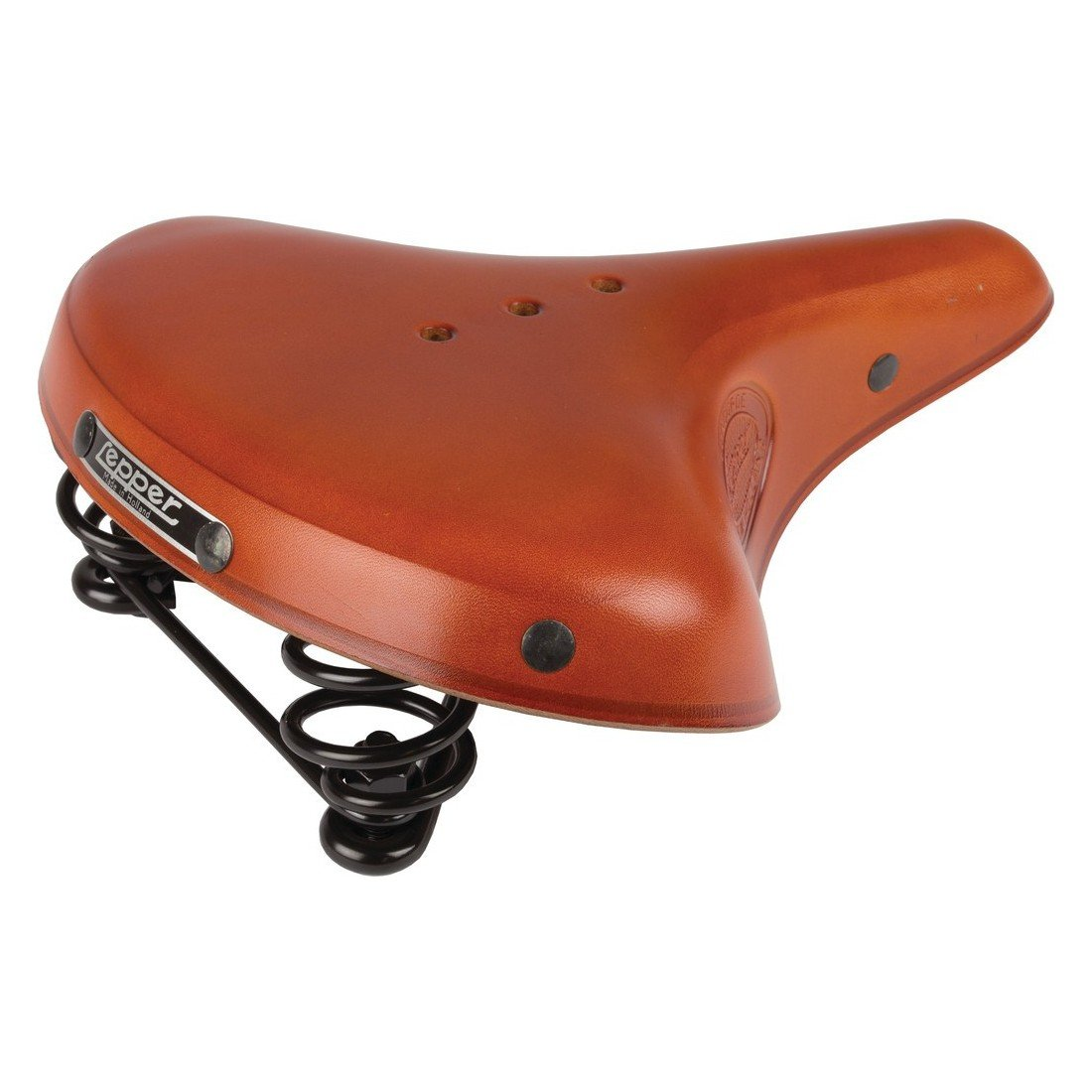 Lepper Primus Herren Fahrrad Sattel Kernleder Fahrradsattel Leder Vintage Retro Gefedert Farbe schwarz