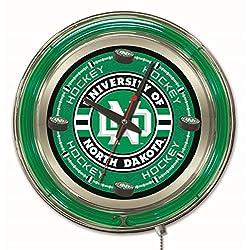 Holland Bar Stool Company NCAA North Dakota Hockey Double Neon Ring 15-Inch Diameter Logo Clock