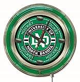 NCAA North Dakota Hockey Double Neon Ring 15-Inch Diameter Logo Clock