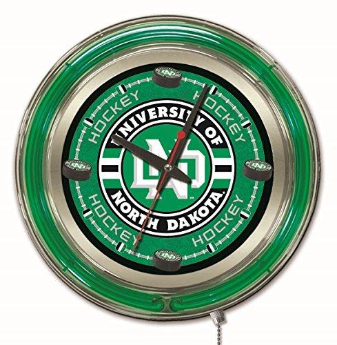 Ncaa College Neon Clock - Holland Bar Stool Company NCAA North Dakota Hockey Double Neon Ring 15-Inch Diameter Logo Clock