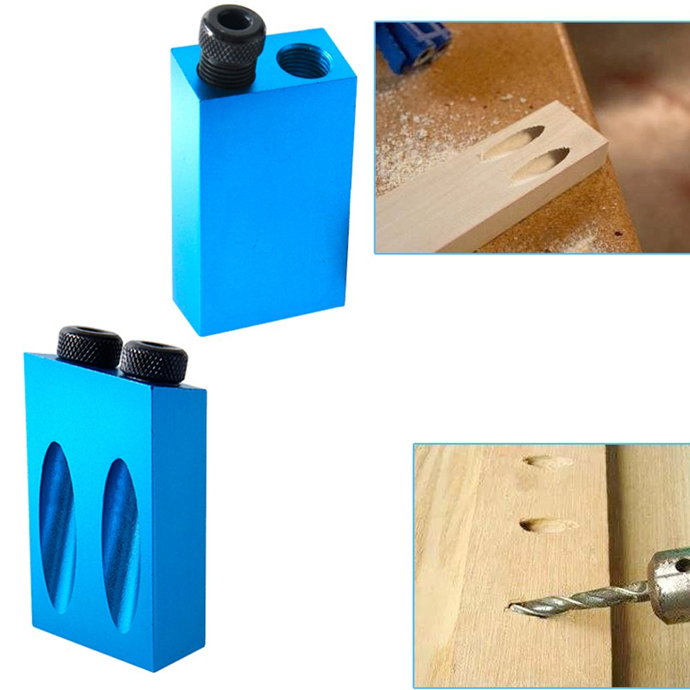 KKmoon Dual Pocket Hole Jig Kit 6/8/10mm 15°Bit Angle Drive Adapter for Woodworking Angle Drilling Holes Guide Wood Tools Doweling Hole Saw & DIY Joinery Work Tool Set by KKmoon (Image #9)