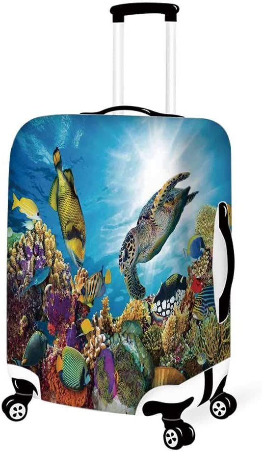 Ocean Stylish Luggage Cover,Coral Colony on a Reef Top in Red Sea Egypt Exotic Fishes Aquatic Underwater Life for Luggage,L 26.3W x 30.7H