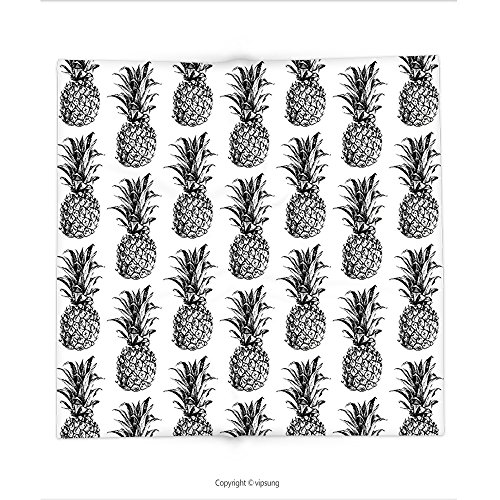 Custom printed Throw Blanket with Pineapple Decor Artistic Hand Drawn Style Tropical Theme Vintage Style Pineapple Fruit Pattern Decores Black Gray White Super soft and Cozy Fleece Blanket