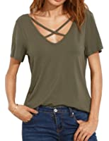 Romastory Women's Summer Tops Bandage V-Neck Casual Girls Tees T Shirt