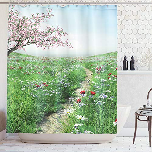 Ambesonne Poppy Decor Collection, Pathway with Cherry Blossom Tree Wildflowers Grassland Country Village Image, Polyester Fabric Bathroom Shower Curtain, 75 Inches Long, Green Blue Pink