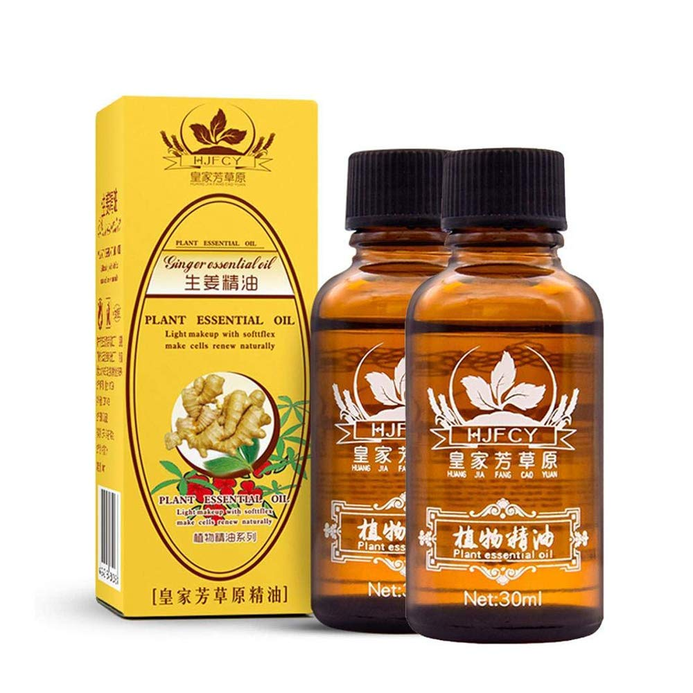 DTDR Natural Plant Lymphatic Drainage Ginger Essential Oils,100% Pure Natural Anti Aging Oil Body Spa Massage Oil 30ml(2PACK)