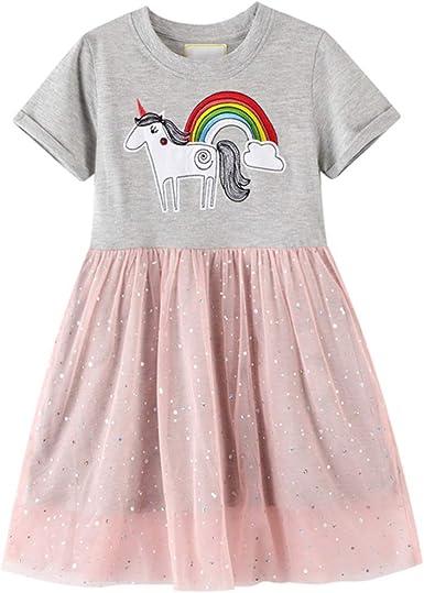 rismart Vestidos Niñas Algodón Camiseta Manga Corta Tops con Tul Falda Niñas pequeños Traje Tutu Casual para 2-7 años: Amazon.es: Ropa y accesorios