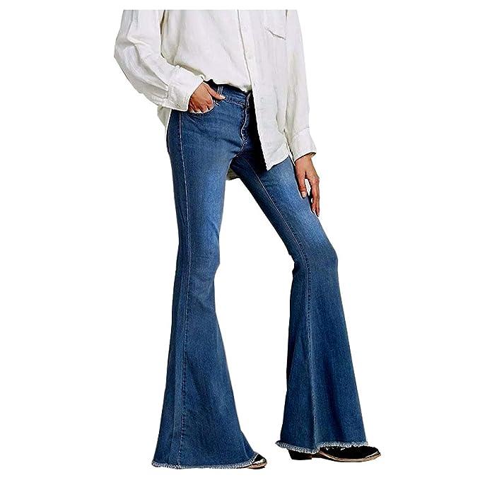 Mujer Vaqueros con Cintura Media Flare Jeans Boyfriend Jeans ...