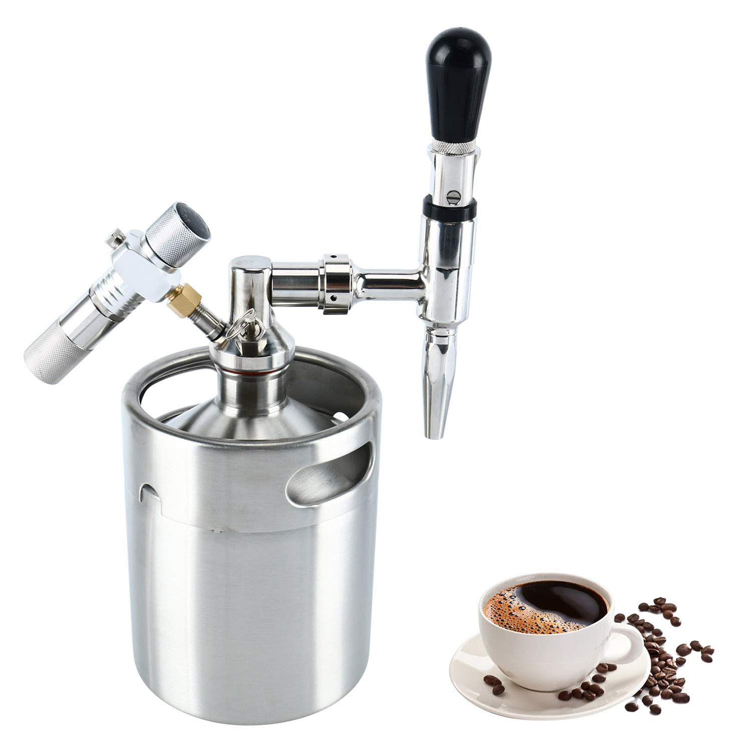 YaeBrew 64 Ounce Mini Stainless Steel Homebrew Coffee Keg System Kit, Nitro Cold Brew Coffee Maker 64 oz, Best Gift for Coffee Lovers DIY Updated