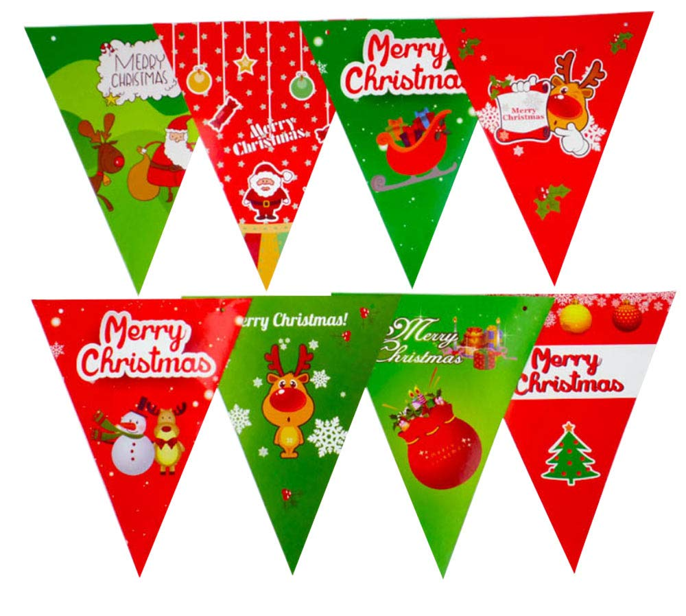 Include Snowman 2 Pack Elk Merry Christmas Decoration Banners Garlands for Holiday Party Decoration Christmas Tree and Christmas Jingle Bells Snowflake