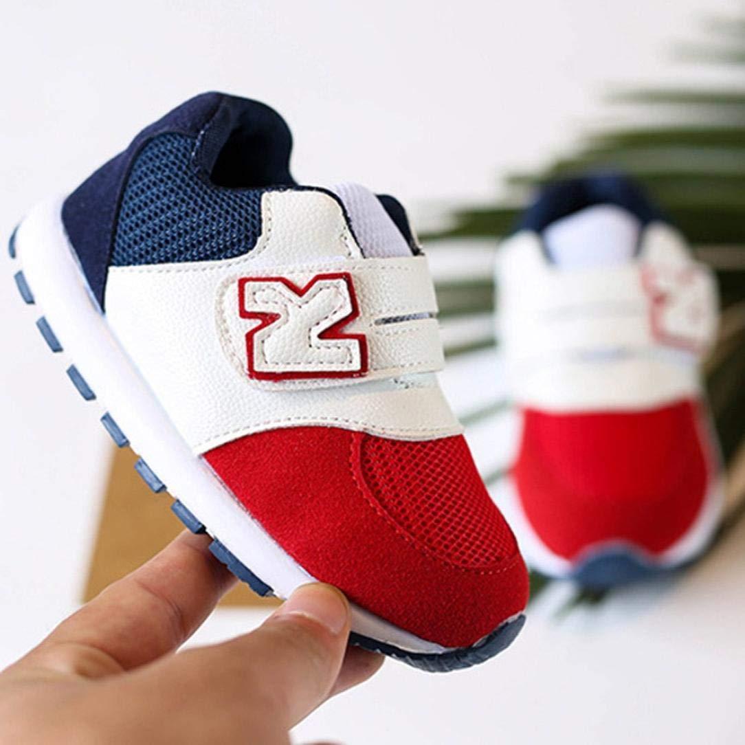 f1e031b86c04e GongzhuMM Coloblock Lettre Baskets Basses Mixte Enfant Fille Garcon Mode  Chaussures Bebe Maille Respirant Sneakers Premier Agrandir l image