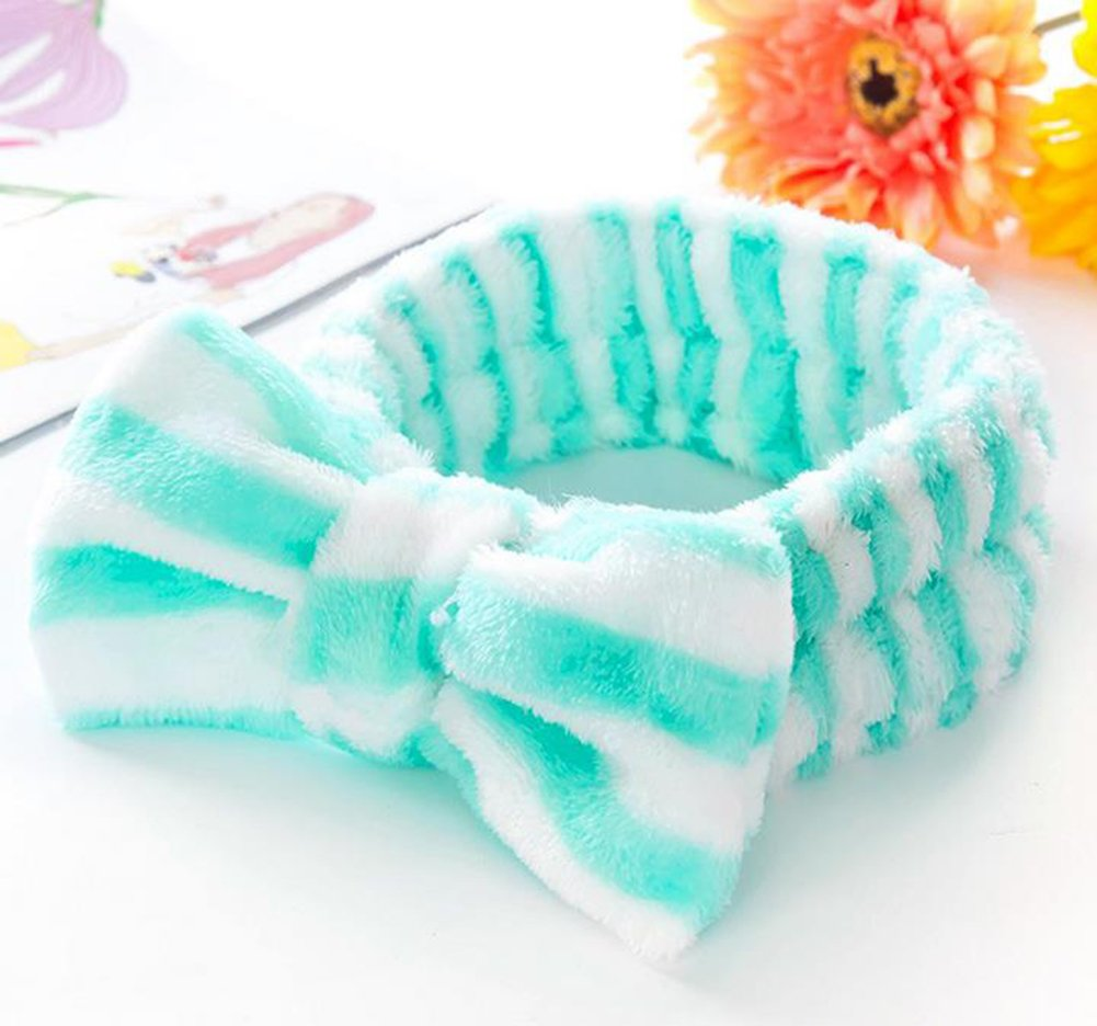 Amazon.com: Qingsun Make-up Face Wash Shower Headband, Soft Coral Velvet Style Bow-knot Hair Wrap for Women Girl Hair Accessories