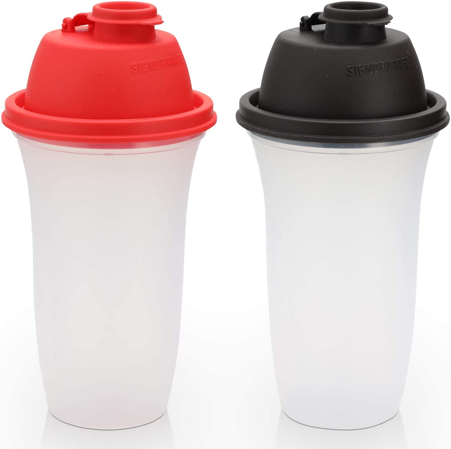 Signoraware Shaker Bottles | 17-Ounce Plastic Protein Shake Bottle for Meal Replacement Shakes & Smoothies, Beverages, Mixing Salad Dressing & Sauces, Margarita, More | 2 Pack