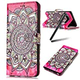 Galaxy Note 8 Case,Samsung Galaxy Note 8 Wallet Case,Samsung Note 8 Cover,Flip Stand Case for Galaxy Note 8,SKYMARS Fashion Gloss Skin 3D Creative Design Book Style PU Leather Flip Kickstand Cards Slot Wallet Magnet Protective Stand Case for Samsung Galaxy Note 8 (2017) Flower Red Totem