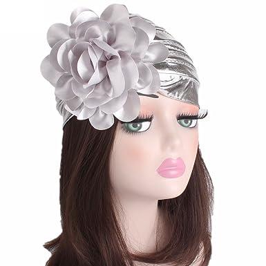 d9d2bc44b3e Hotsellhome Women Retro Big Flowers Slouchy Beanie Hat Scarf Ladies Baggy  Turban Brim Head Wrap Cap Pile Cap For Chemo alopecia Hair Loss (Silver)   ...
