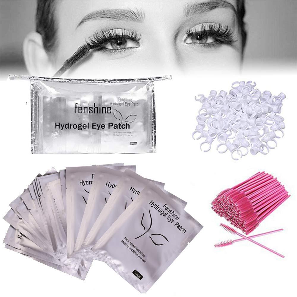 Eyelash Extension Supplies 3x100 Packs-100 Pairs Under Eye Gel Pads, Eye Gel Patches& 100 Eyelash Mascara Brushes Wands Applicator Makeup Brush & 100 Glue Ring Holder& 1 Cosmetic Bag by fenshine